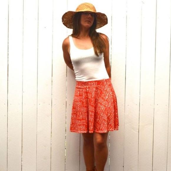 109c1b8c73 Vintage Skirts | Aztec Print Cotton Stretch Midi Skirt Red White L ...